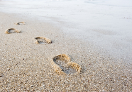 sand mold: Footprints in wet sand of beach.