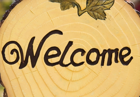 Welcome word on wood signboard  photo