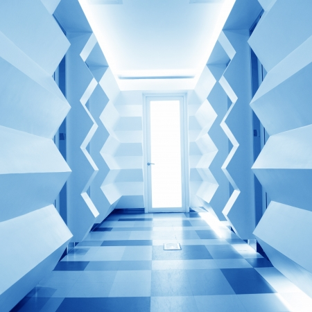 research facilities: empty long corridor in the modern office building.