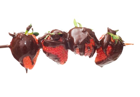 coated: strawberries and chocolate isolated on white.