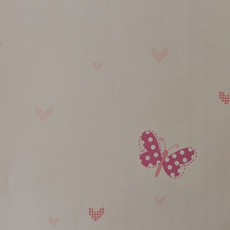 Seamless wallpaper with butterfly and red heart. photo