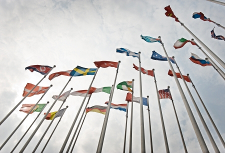 Flags of the world happily blowing in the wind.  Stock Photo - 14248320
