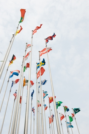 Flags of the world happily blowing in the wind. Stock Photo - 14248271