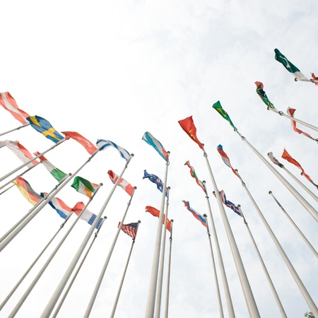 south korea flag: Flags of the world happily blowing in the wind.  Stock Photo