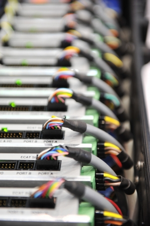 telecommunication equipment: Telecommunication equipment in data center server room.