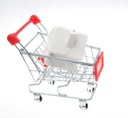 Shopping cart with a house. photo