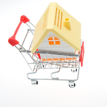 sold small: Shopping cart with a house.