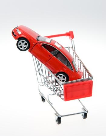 Car inside a shopping cart. photo