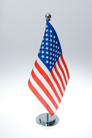 American table flag isolated on white  photo