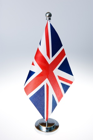 United Kingdom table flag isolated on white  photo