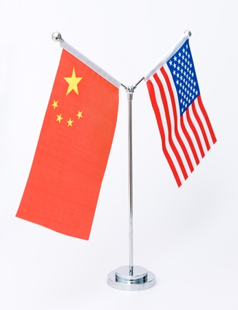 American and Chinese table flag isolated on white  photo