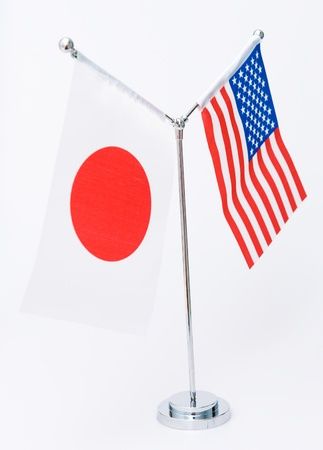 American and Japanese table flag isolated on white  photo