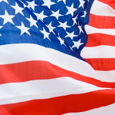 american flag waving: Close-up shot of wavy american flag. Stock Photo