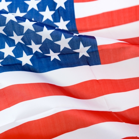 Close-up shot of wavy american flag. photo