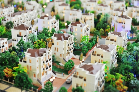 little town: large group of toy houses. Stock Photo