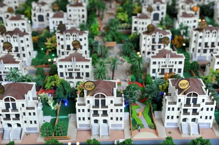 large group of toy houses. photo