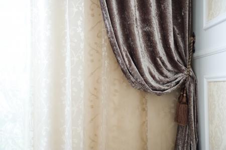 velvet background: Detail of luxury interior curtain.  Stock Photo