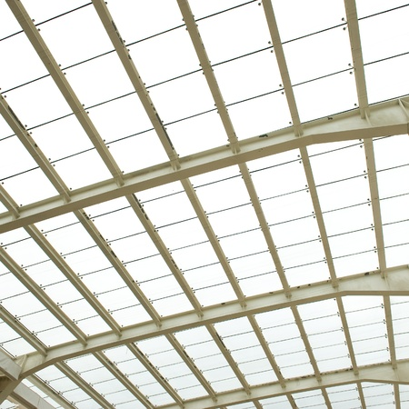 window pane: Abstract geometric ceiling in office center  Stock Photo