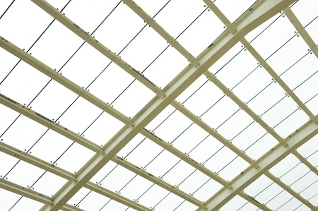 glazing: Abstract geometric ceiling in office center  Stock Photo