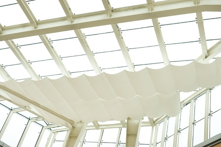 Abstract geometric ceiling in office center  photo