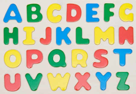 Colorful baby blocks set of capital letters alphabet.  photo