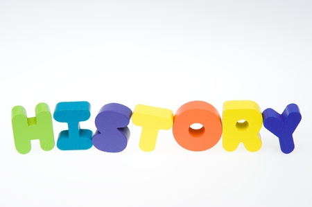 Wooden letters spelling the word   history   on white background.  photo