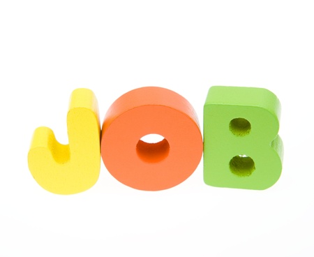 Wooden letters spelling the word JOB on white background.  photo