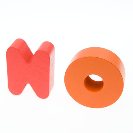 Wooden letters spelling the word  NO  on white background.  Stock Photo - 14588419