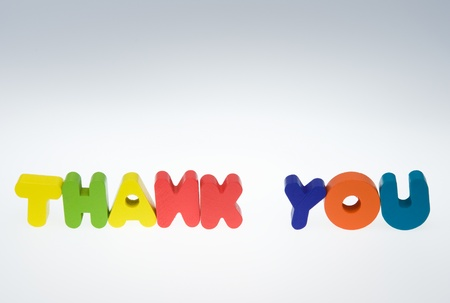 Wooden letters spelling the word  thank you  on white background.  photo