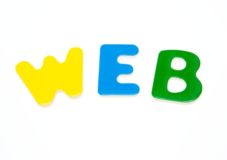 printery: Wooden letters spelling the word  WEB  on white background.