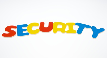 Wooden letters spelling the word   security   on white background.  photo