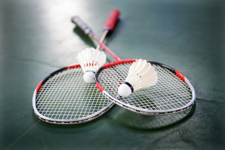 racquet: two shuttlecocks and badminton racket.