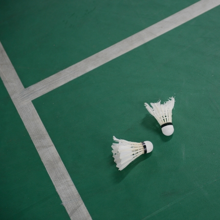 Shuttlecock on the bodminton court floor.  photo