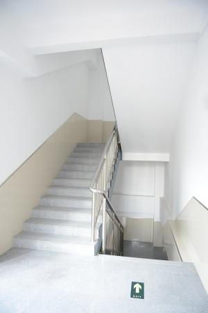 stairway: Blank stairways with steel railing.