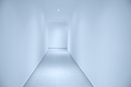 clean room: Empty long white corridor, for design. Stock Photo
