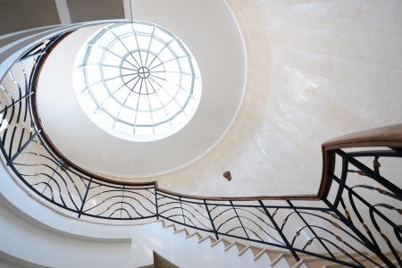 spiral stairway: Upside view of spiral stairway case Stock Photo