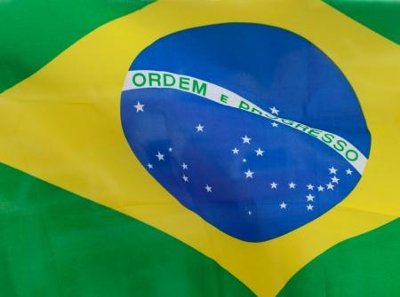 close-up  of brazil waving flag.  photo