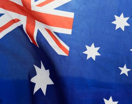 Close up shot of wavy Australia flag.  photo