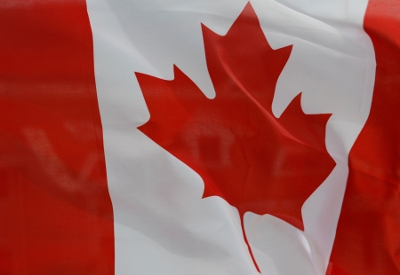 close-up of canada flag.  photo
