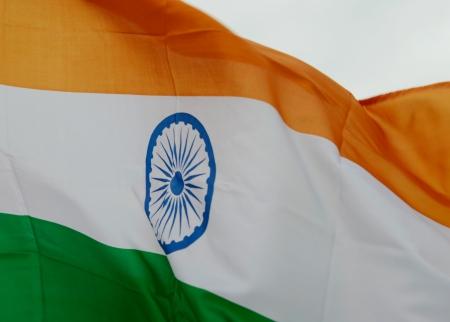 east indian: Close up shot of wavy India flag.
