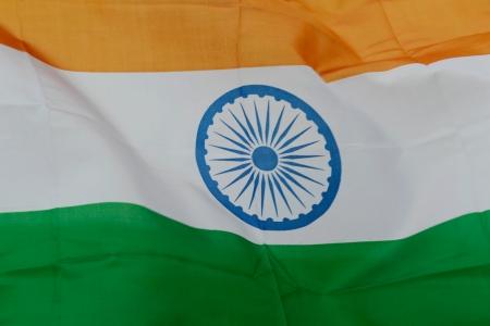 bandera de la india: Cierre de tiro de bandera ondulado India.