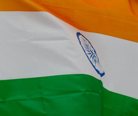 drapeau inde: Gros plan de l'Inde drapeau ondulant. Banque d'images