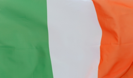Close up shot of wavy Ireland flag  photo