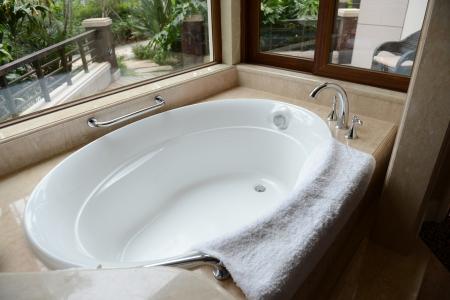 Modern bathtub in the bathroom  Stock Photo - 15137090
