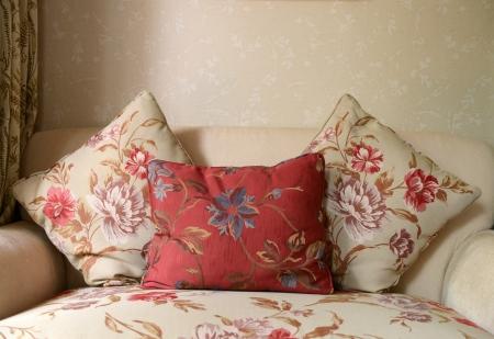 red sofa: Decorative pillow natural Fabric  - home interiors.
