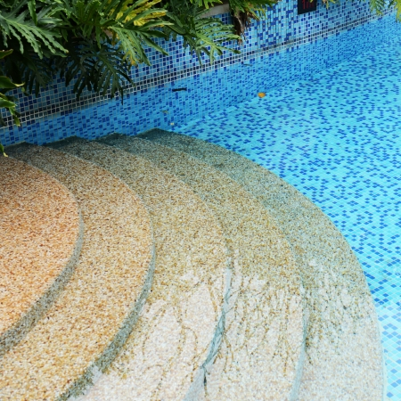 detail of beautiful swimming pool.  photo
