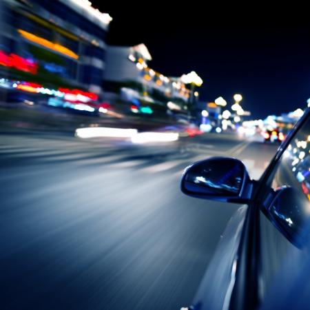 light zoom: night drive ,shoot from the window of speed car, motion blur steet light.