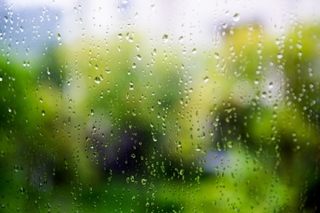 window panes: natural water drops on window glass with green background  Stock Photo