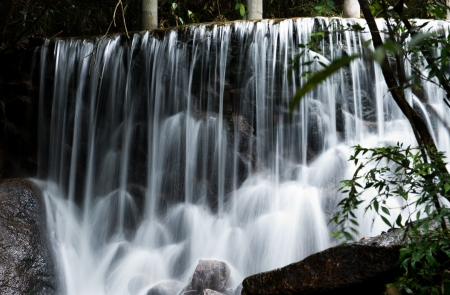 water flowing over falls, long time exposure  photo