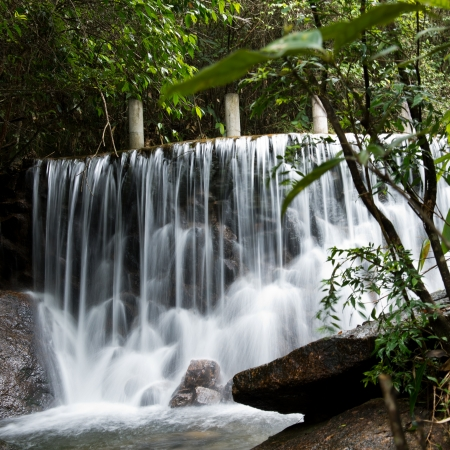 quite time: water flowing over falls, long time exposure